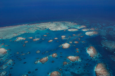 Aerial view of southern Belize barrier reef, showing Gladden Spit, where there is a sharp bend in the reef, Gladden Spit and ...