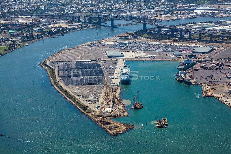Aerial view of Webb Dock Port Melbourne  Victoria Australia