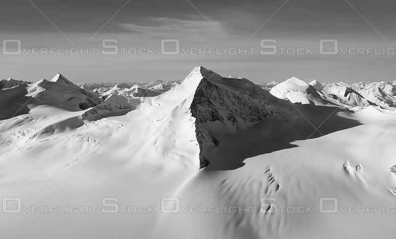Black and White of Mount Wheeler and Deville Neve Selkirk Range BC