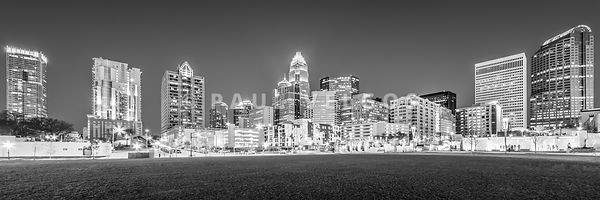 Charlotte Skyline at Night Panorama in Black and White