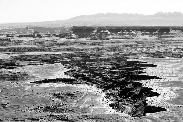 GRAND VIEW POINT OVERLOOK CANYONLANDS NATIONAL PARK UTAH BLACK AND WHITE