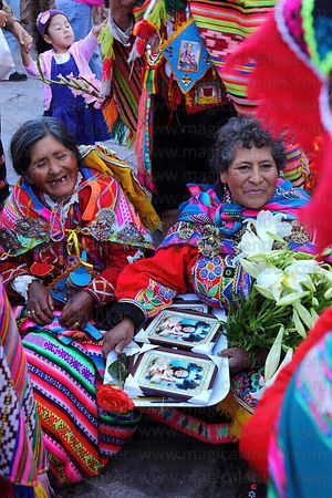 Indigenous devotees during Corpus Christi festival , Cusco , Peru