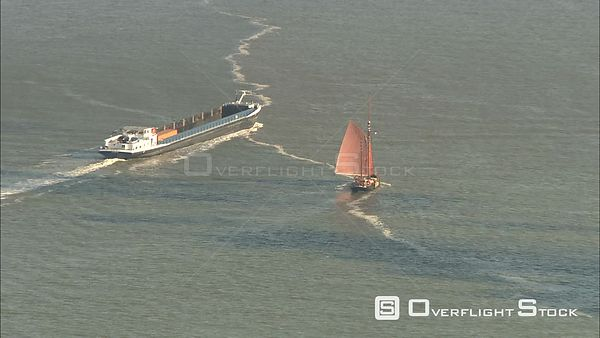Sailboat and Barge Antwerp Belgium