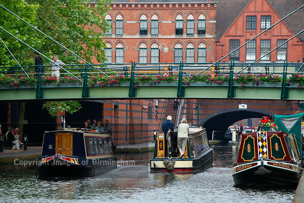Canals near Brindleyplace and Broad Steet, Birmingham, West Midlands.