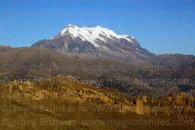 Rock formations above Palca Canyon and Mt Illimani, Cordillera Real, Bolivia