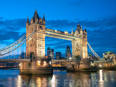 England, London, Tower Bridge over River Thames at night