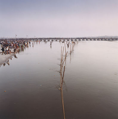 Pilgrims wash themselves at the Kumbh Mela.