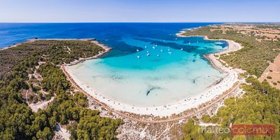Aerial panoramic view of Son Saura beach, Menorca, Spain