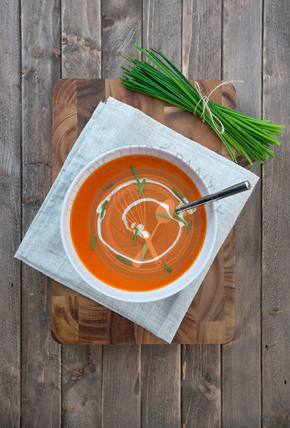 Cream of Tomato Soup, with chives.