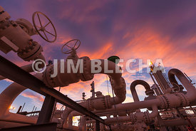Gas Valves at sunset