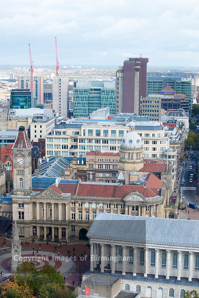 Aerial view of the city centre, showing Town Hall, Chamberlain Square, Colmore Row, Birmingham, West Midlands, England, UK