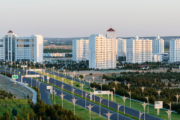 Elevated View of the City of Ashgabat at Sunrise