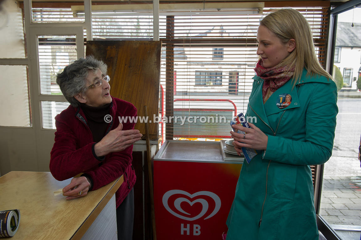 13th March, 2013.Fine Gael's Helen McEntee a candidate in the forthcoming Meath East By-Election speaking with Imelda Keoghan...