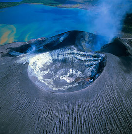 Aerial view of Tuvurvur volcano, East New Britain, Papua New Guinea