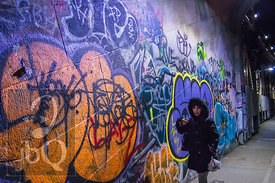 Tagged wall on the Brooklyn Bridge