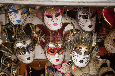 Multi Coloured Jester Carnival Masks in Venice