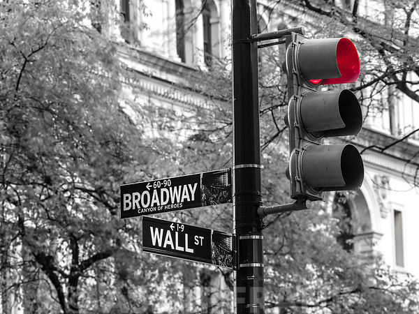 Traffic lights with street signs - New York City