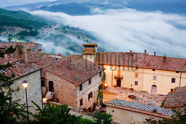 Houses in a village, Rocca D'Orcia, Val D'Orcia, Siena Province, Tuscany, Italy