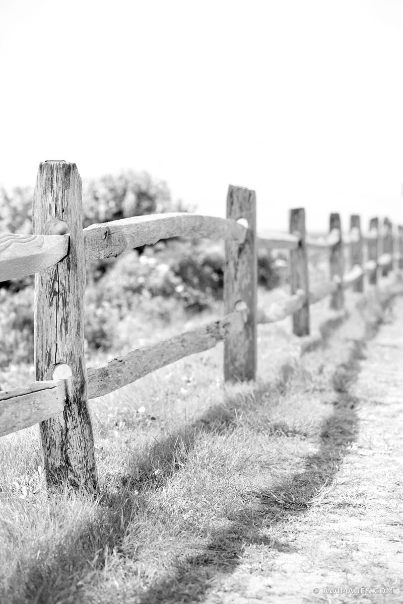 OLD WEATHERED WOODEN FENCE MARTHA'S VINEYARD BLACK AND WHITE