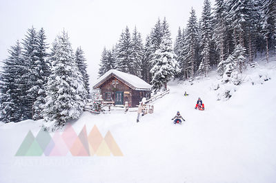 Austria, Altenmarkt-Zauchensee, family tobogganing at wooden house at Christmas time