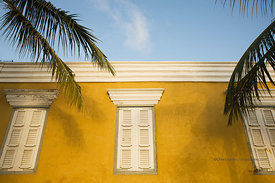 Yellow government building on the waterfront in downtown, Bonaire, Netherland Antillies