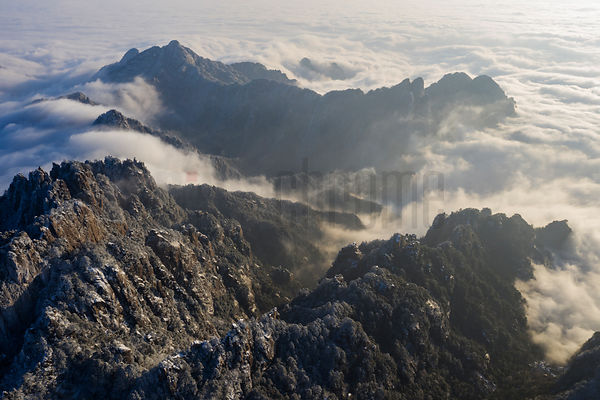 Aerial View of the Huangshan Mountains and a Sea of Clouds