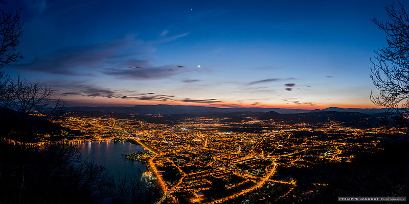 Venus and the Moon Over Annecy - Mont Veyrier