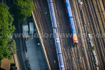 Aerial view of trains at Waterloo Station