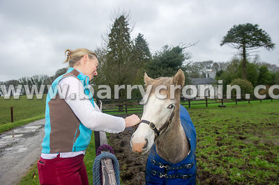 15th January 2016. Margaret Edgilll with one of her horses 'Skye' on her farm Mount Briscoe, County Offaly.Photo:Barry Cronin...