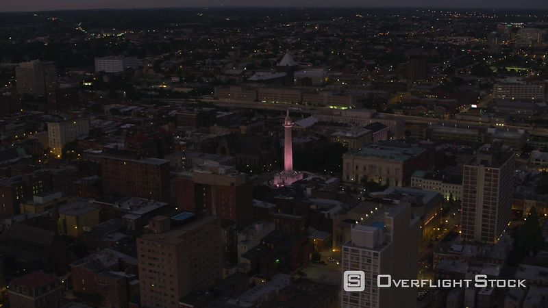 Baltimore, Maryland Washington Monument in downtown Baltimore at night.  Shot with Cineflex and RED EpicW Helium.