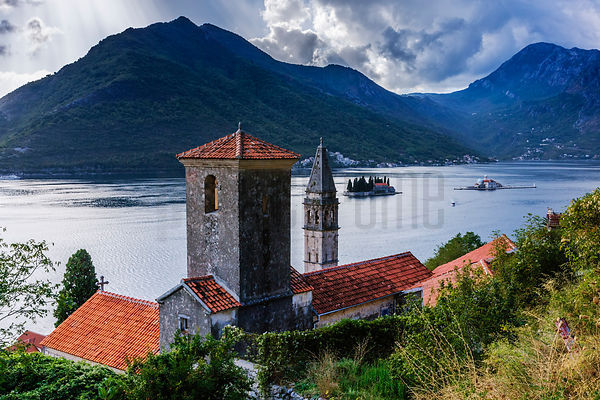 Elevated View of Churches on Adriatic Inlet at Perast