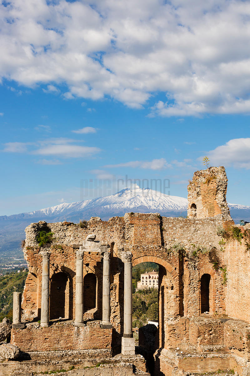 View of Etna from the Greek Theatre.
