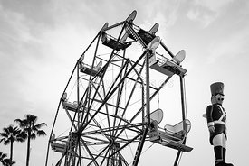 Newport Beach Ferris Wheel Bllack and White Photo