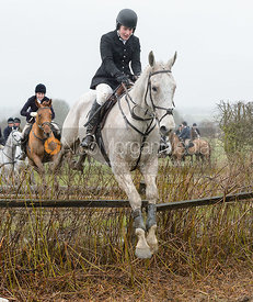 Chloe Jonason jumping a hedge near Pasture Lane