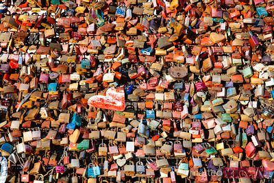 Colorful love padlocks, Cologne, Germany