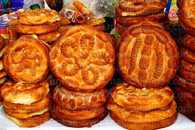 Loaves of bread for sale during Comadres festival, Tarija, Bolivia