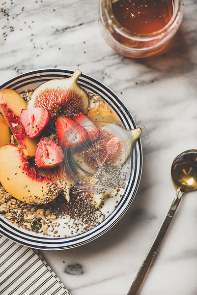 Healthy breakfast bowl with yogurt, fruits and honey
