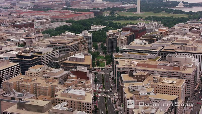 Washington, D.C. Flying up Connecticut Avenue to Farragut Square and White House.  Shot with Cineflex and RED EpicW Helium.