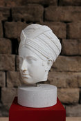 "Marble portrait of woman with hair in the style of a Turban. ""Portraits. The Many Faces of Power"" Exhibition"