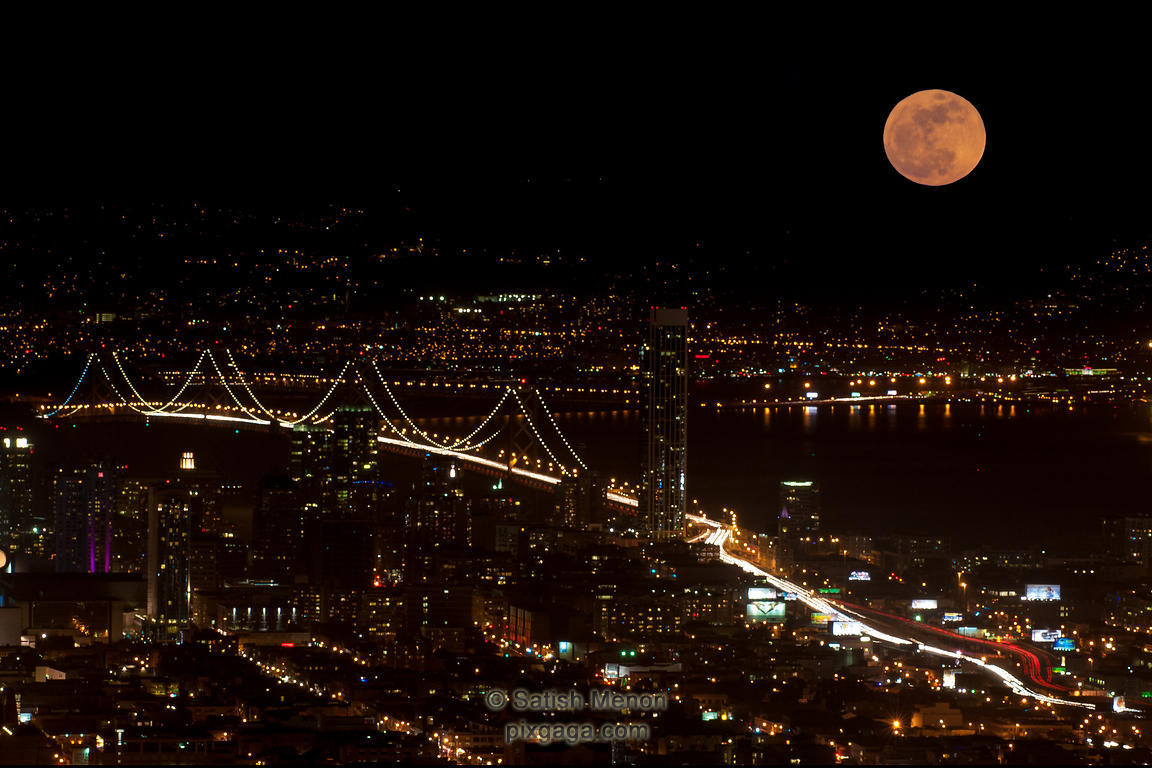 Bay Bridge and Super Moon (Composite Image - not as seen)