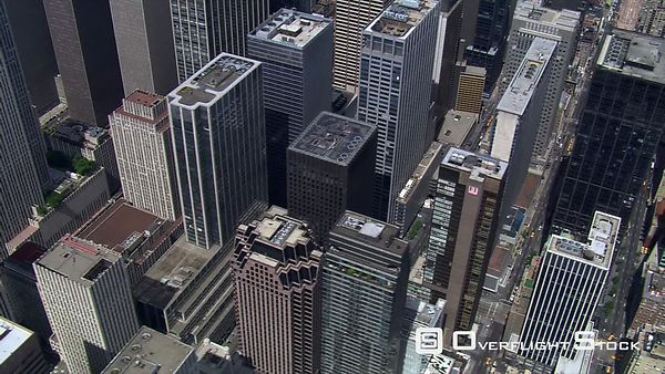 Flying over downtown Lower Manhattan