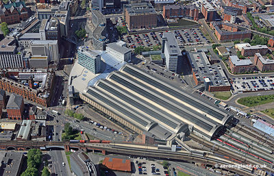 aerial photograph of Manchester Piccadilly Station England UK