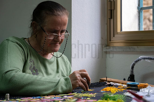 Woman Embroidering a Shawl