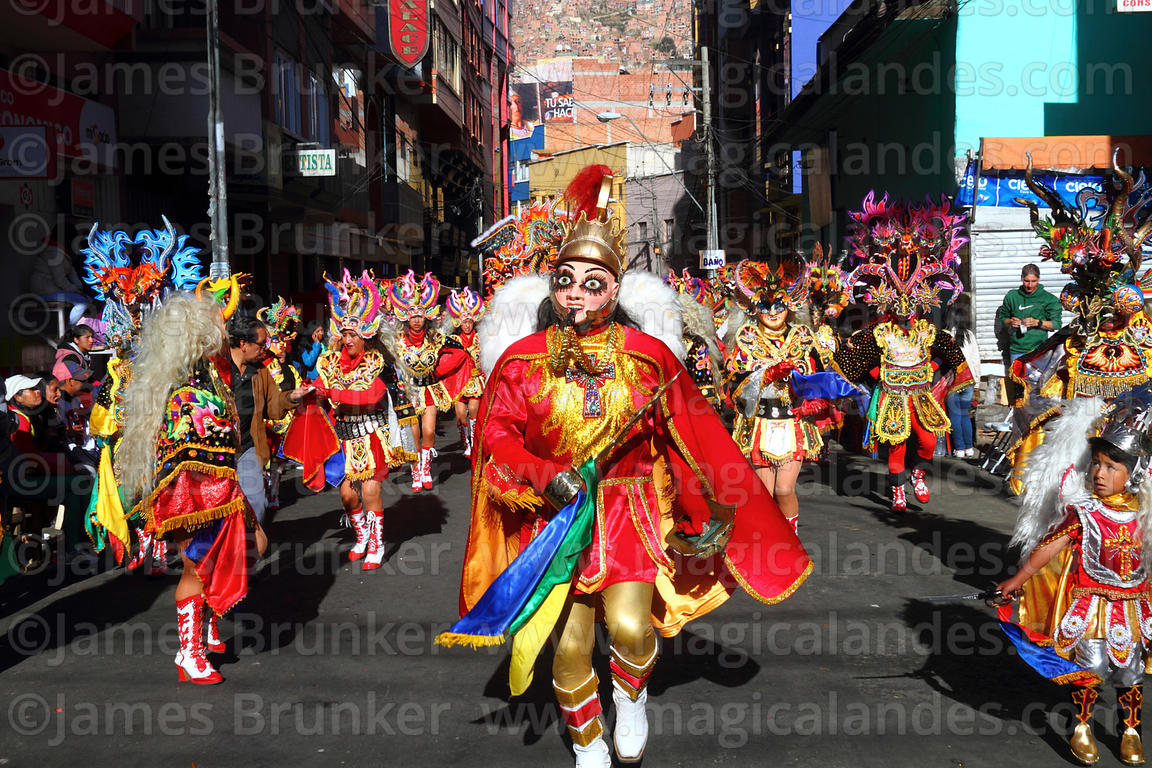 Archangel Michael leading devils during the diablada dance, Gran Poder festival, La Paz, Bolivia