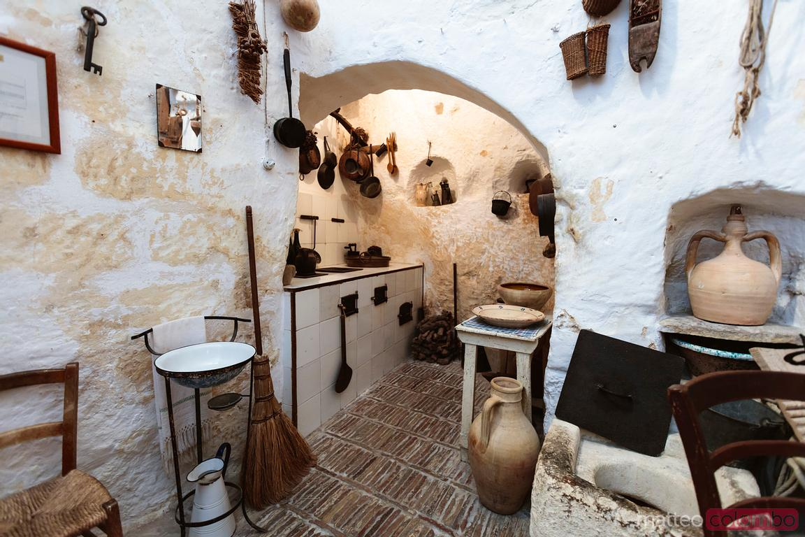 Interior of traditional cave dwelling in Matera, Italy