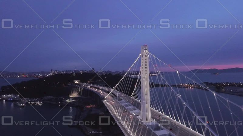 San Francisco Bay Bridge Dusk Wideshot South Side Flyover Pan