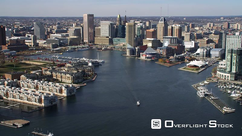 Aerial approach to Baltimore over the Inner Harbor.