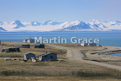 View from Svalbard airport, Longyear, looking across Isfjorden to the snowy mountains of Oscar II Land, Svalbard