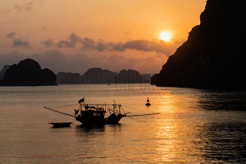 Squid Boat Anchored in Halong Bay at Sunrise