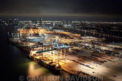 Aerial photograph at night of the Cargo Port of Miami
